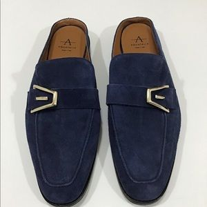 Aquatalia Tosca Loafer Mule in Indigo Suede.